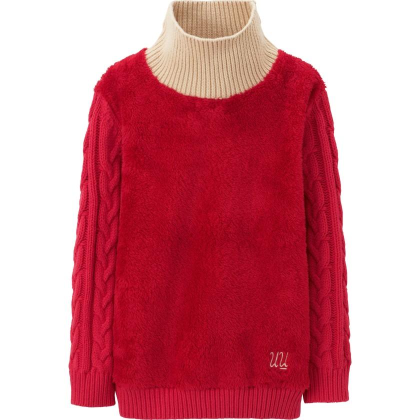 紅色搖粒絨長袖上衣  $249